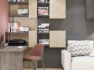 WIŚLANE TARASY - Małe szare różowe biuro domowe kącik do pracy w pokoju, styl nowoczesny - zdjęcie od MIKOŁAJSKAstudio