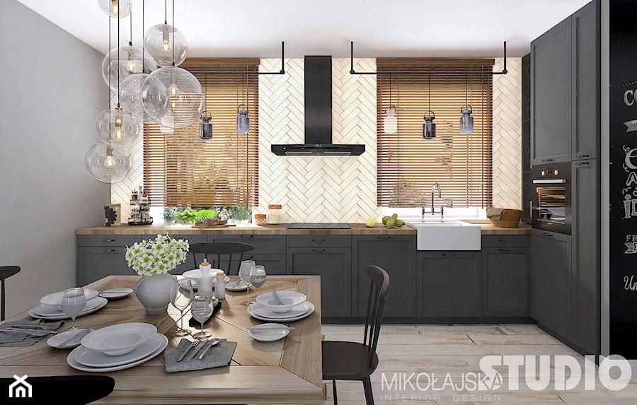kuchnia rustykalna loft zdj cie od miko ajskastudio homebook. Black Bedroom Furniture Sets. Home Design Ideas