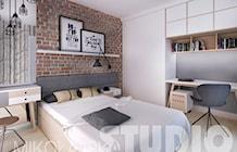 beton-drewno-cegła-sypialnia - zdjęcie od MIKOŁAJSKAstudio