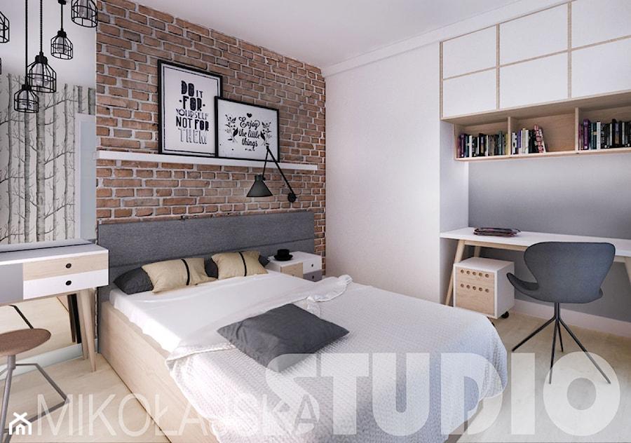 beton-drewno-cegła-sypialnia - zdjęcie od MIKOŁAJSKAstudio - homebook