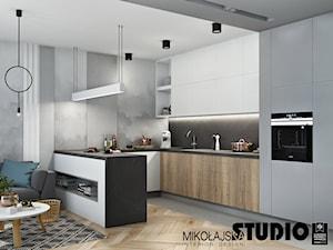 BLISKO NATURY - Średnia otwarta szara czarna kuchnia w kształcie litery u w aneksie, styl nowoczesny - zdjęcie od MIKOŁAJSKAstudio