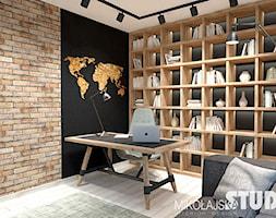 gabinet-cegła, drewno - zdjęcie od MIKOŁAJSKAstudio