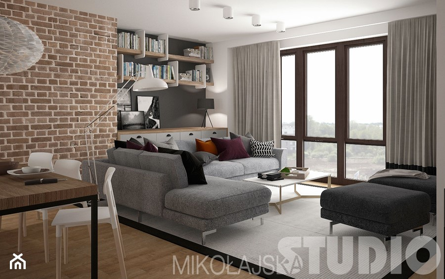 loft style ma y salon z jadalni styl industrialny zdj cie od miko ajskastudio homebook. Black Bedroom Furniture Sets. Home Design Ideas