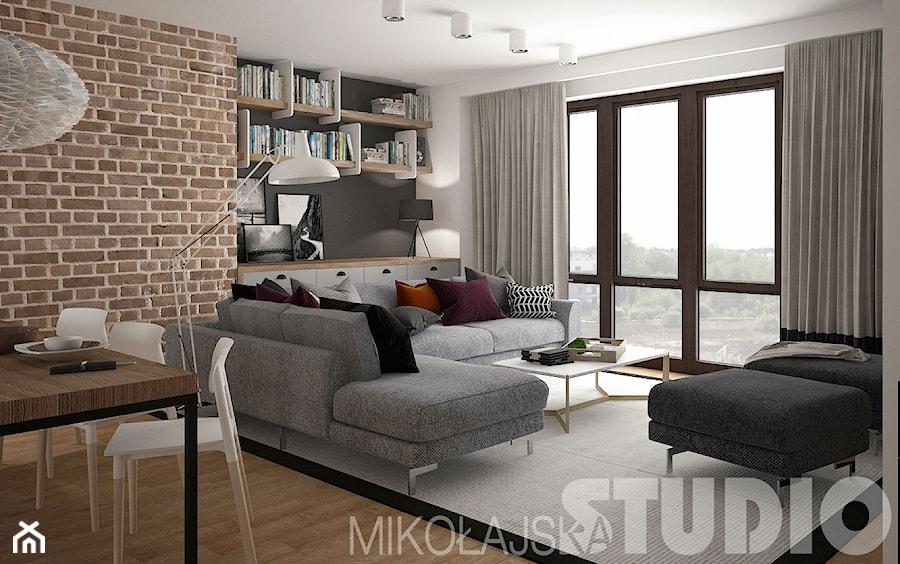 loft style ma y bia y salon z jadalni styl industrialny zdj cie od miko ajskastudio homebook. Black Bedroom Furniture Sets. Home Design Ideas