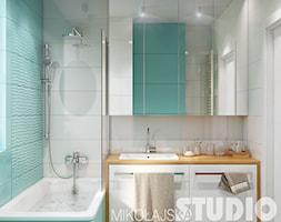 kompaktowa łazienka w kolorze morskim - zdjęcie od MIKOŁAJSKAstudio