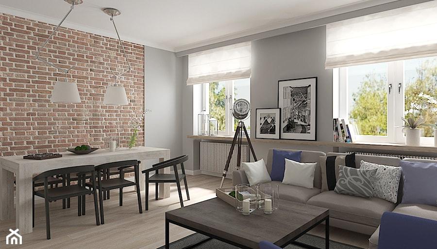 Mieszkanie w budynku z lat 40-tych - Średni szary brązowy salon z jadalnią, styl vintage - zdjęcie od MIKOŁAJSKAstudio