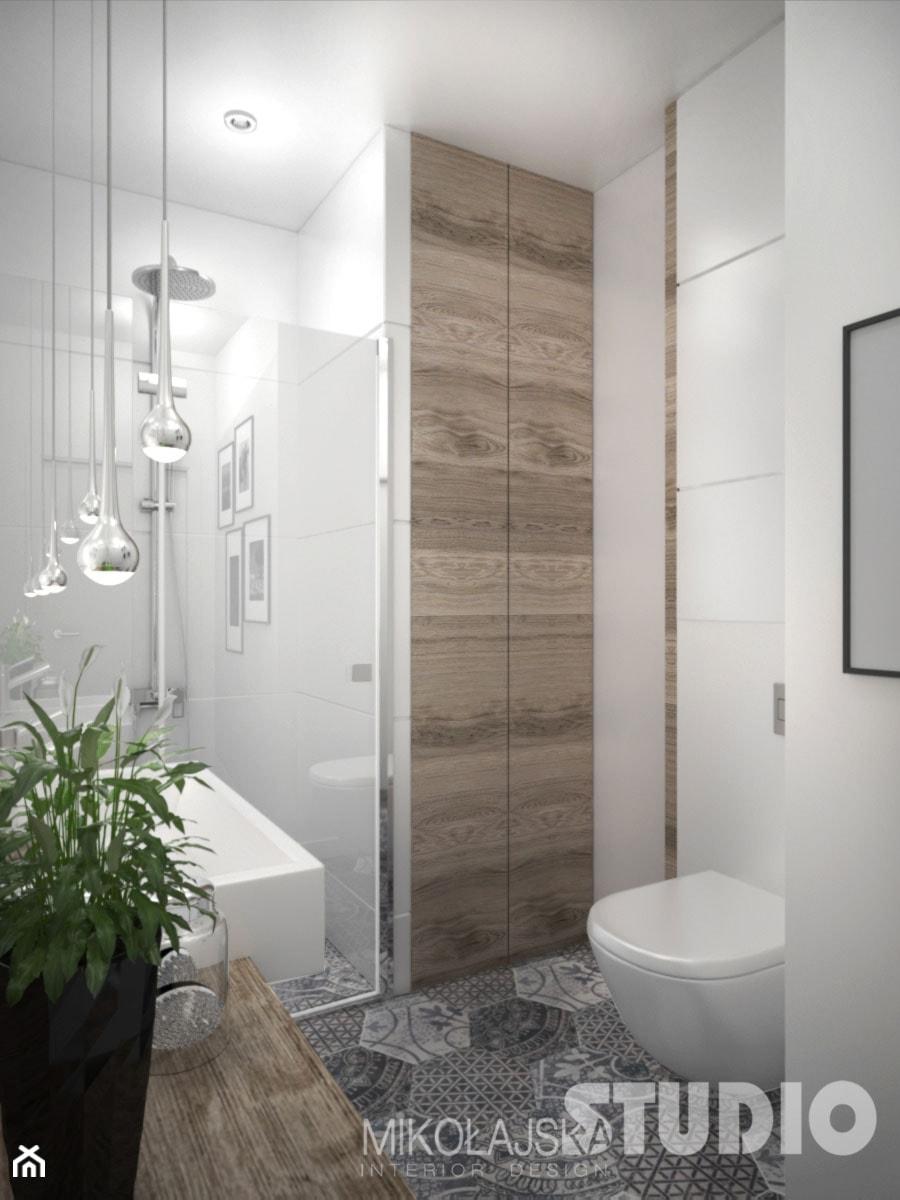 łazienka Jasna Biała Podłoga Wzorzysta Drewno W łazience
