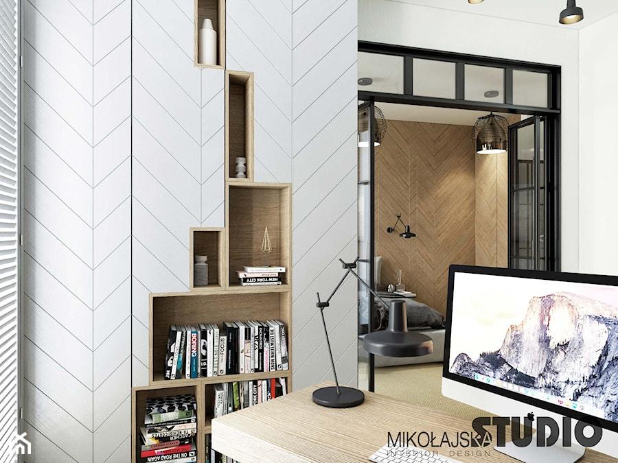 Aranżacje wnętrz - Biuro: gabinet bliblioteka przestrzeń pracy - MIKOŁAJSKAstudio. Przeglądaj, dodawaj i zapisuj najlepsze zdjęcia, pomysły i inspiracje designerskie. W bazie mamy już prawie milion fotografii!