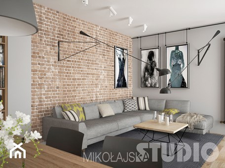 Aranżacje wnętrz - Salon: Salon w lofcie - MIKOŁAJSKAstudio. Przeglądaj, dodawaj i zapisuj najlepsze zdjęcia, pomysły i inspiracje designerskie. W bazie mamy już prawie milion fotografii!