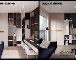 DOM W WIELICZCE - zdjęcia - Średnie beżowe szare biuro domowe kącik do pracy w pokoju, styl nowoczesny - zdjęcie od MIKOŁAJSKAstudio