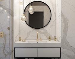 jasna marmurowa łazienka-okrągłe lustro - zdjęcie od MIKOŁAJSKAstudio