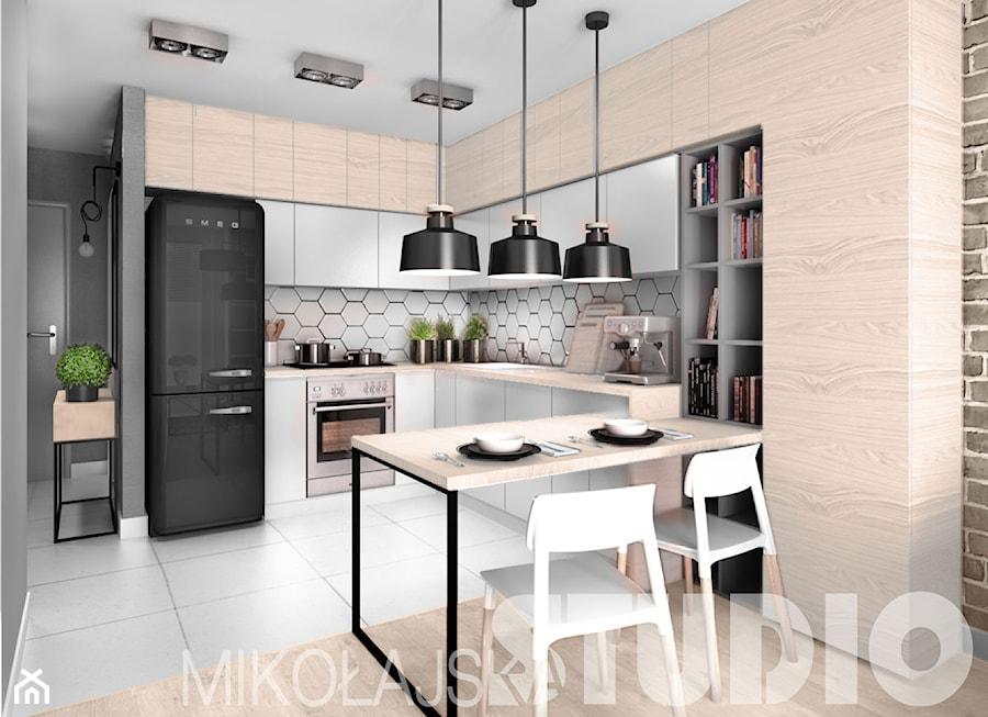 beton drewno cegła kuchnia  zdjęcie od MIKOŁAJSKAstudio -> Kuchnia Biel Cegla