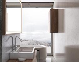 łazienka z ogromnym oknem - zdjęcie od MIKOŁAJSKAstudio