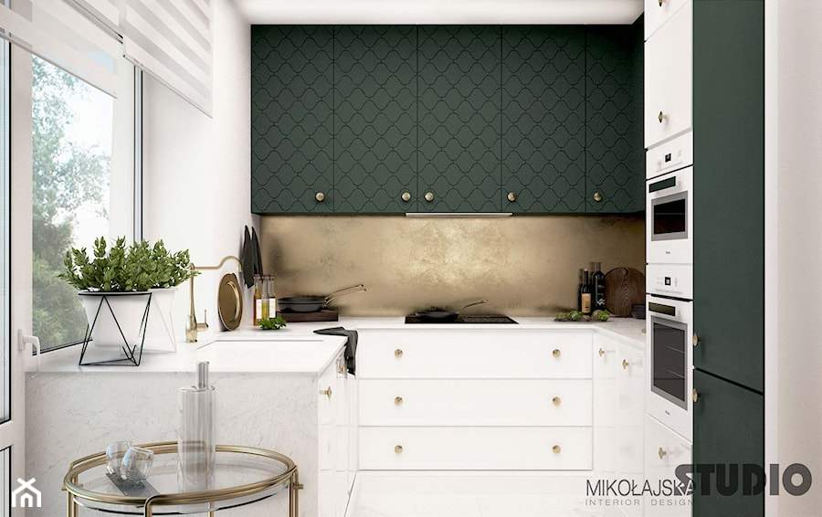 kuchnia biała-oliwkowe fronty - zdjęcie od MIKOŁAJSKAstudio