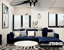 Salon Z Niebieską Sofą Narożnikiem Aranżacje Pomysły