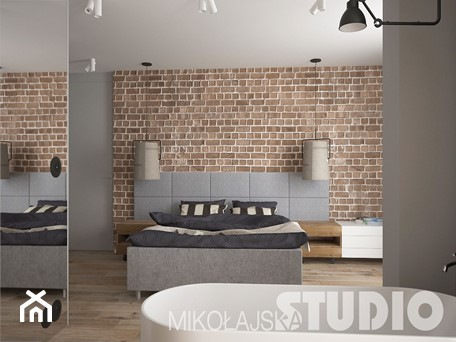 Aranżacje wnętrz - Sypialnia: Sypialnia w stylu industrialnym - MIKOŁAJSKAstudio. Przeglądaj, dodawaj i zapisuj najlepsze zdjęcia, pomysły i inspiracje designerskie. W bazie mamy już prawie milion fotografii!