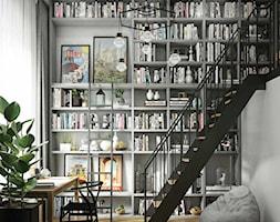 szara+biblioteka+z+antresol%C4%85-czarne+akcenty+-+zdj%C4%99cie+od+MIKO%C5%81AJSKAstudio