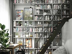 szara biblioteka z antresolą-czarne akcenty - zdjęcie od MIKOŁAJSKAstudio