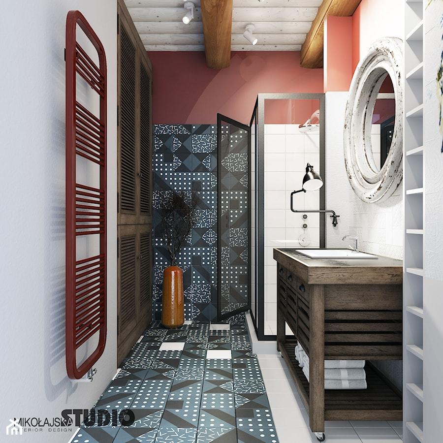 odważne kolory w wiejskiej łazience - zdjęcie od MIKOŁAJSKAstudio