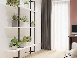 WIŚLANE TARASY - Średnie pomarańczowe różowe białe biuro kącik do pracy w pokoju, styl nowoczesny - zdjęcie od MIKOŁAJSKAstudio