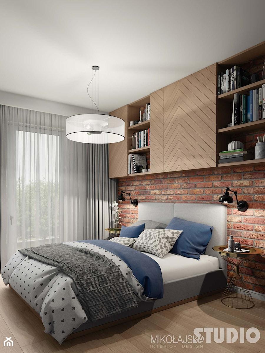 Soft Loft Sypialnia Jasne Drewno Cegła Zdjęcie Od