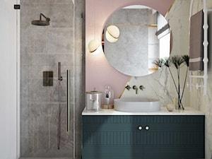 Szykowne wnętrze nad Baranówką - Średnia biała szara różowa łazienka z oknem, styl nowoczesny - zdjęcie od MIKOŁAJSKAstudio