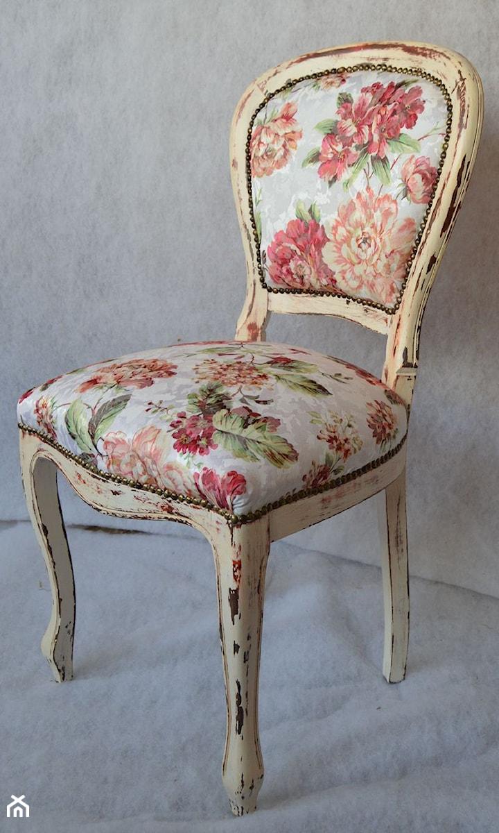 Krzesło Shabby Chic Kwiaty Prowansja Vintyge Zdjęcie Od