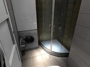 Łazienka w kawalerce - Mała biała łazienka w bloku w domu jednorodzinnym bez okna, styl skandynawski - zdjęcie od VizuDesign