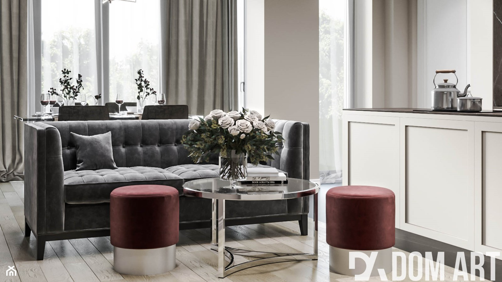 Eleganckie mieszkanie w Krakowie - Średni biały salon z kuchnią - zdjęcie od Dom-Art - Homebook