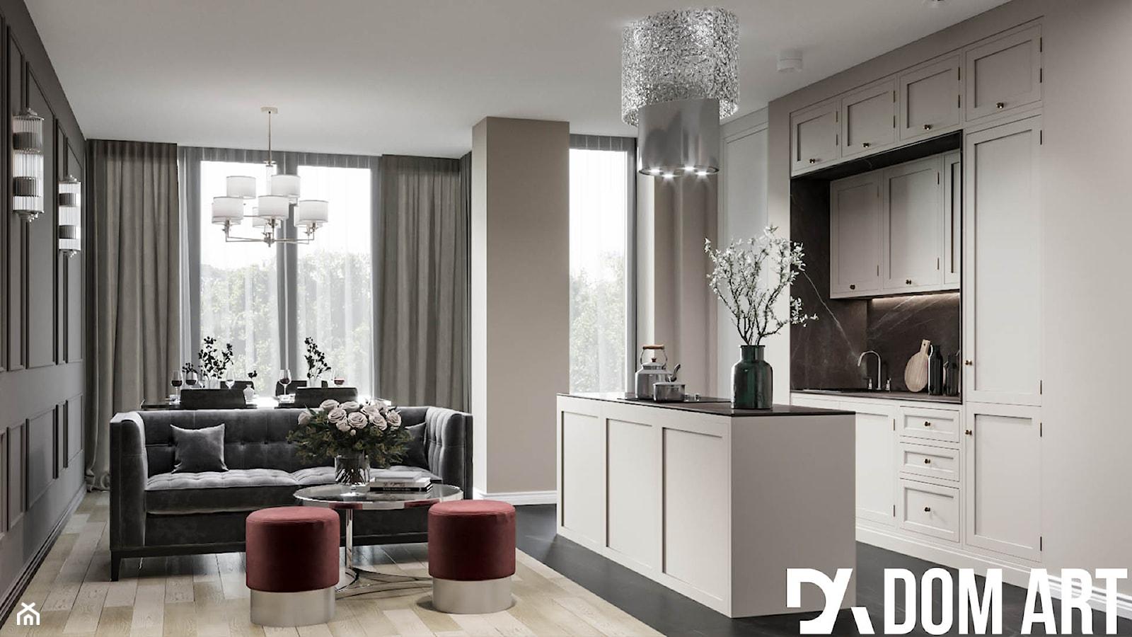 Eleganckie mieszkanie w Krakowie - Średni szary biały beżowy salon z kuchnią z jadalnią - zdjęcie od Dom-Art - Homebook