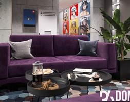 Biuro Rumble Fish - Średnie szare biuro domowe w pokoju, styl nowoczesny - zdjęcie od Dom-Art