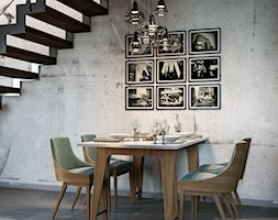 Dom w Katowicach - Średnia otwarta szara jadalnia jako osobne pomieszczenie, styl industrialny - zdjęcie od Dom-Art