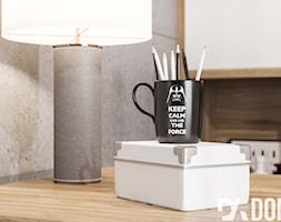 Eko-Dom w Świątnikach Górnych - Małe szare biuro kącik do pracy, styl skandynawski - zdjęcie od Dom-Art