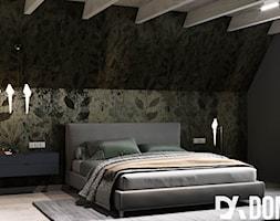 Nowoczesny dom w Olkuszu - Średnia czarna sypialnia małżeńska na poddaszu, styl nowoczesny - zdjęcie od Dom-Art - Homebook