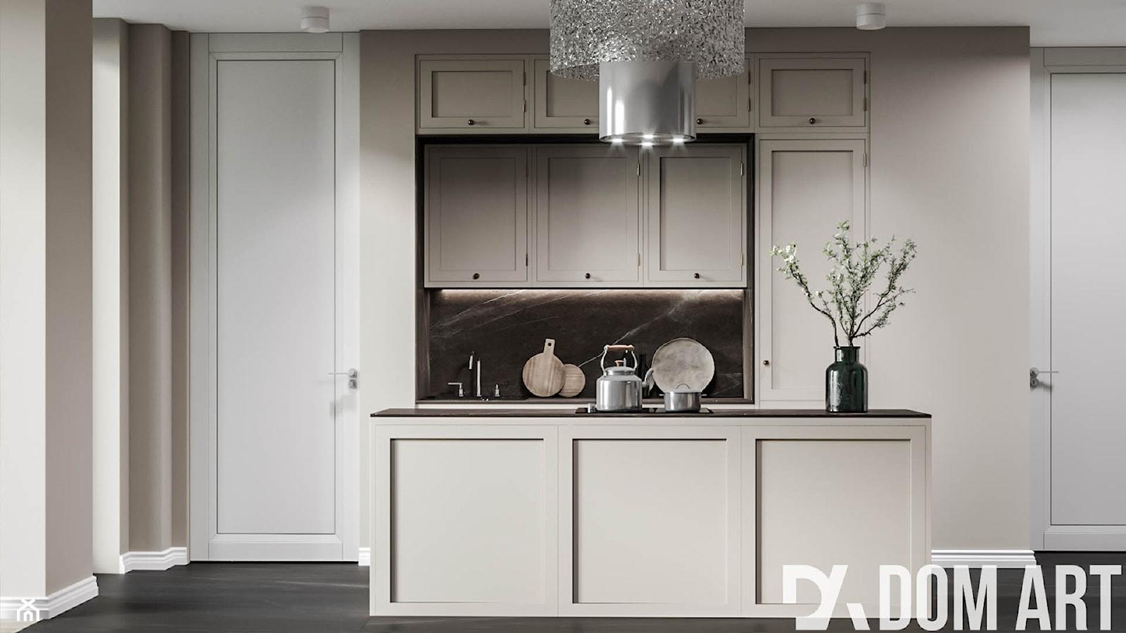 Eleganckie mieszkanie w Krakowie - Mała otwarta szara czarna kuchnia jednorzędowa z wyspą - zdjęcie od Dom-Art - Homebook