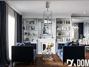 Mieszkanie w klasycznym stylu - Średni szary salon z bibiloteczką, styl klasyczny - zdjęcie od Dom-Art