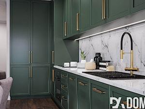 Mieszkanie w stylu Glamour - Średnia otwarta szara kuchnia w kształcie litery l, styl glamour - zdjęcie od Dom-Art