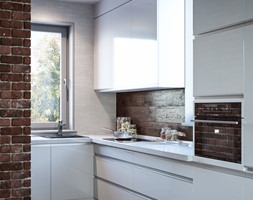Średnia otwarta biała brązowa kuchnia w kształcie litery l, styl minimalistyczny - zdjęcie od Dom-Art