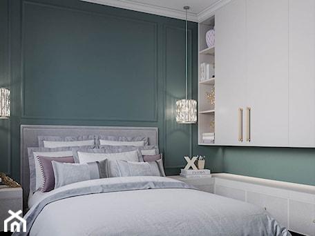 Aranżacje wnętrz - Sypialnia: Mieszkanie w stylu Glamour - Mała zielona sypialnia małżeńska, styl glamour - Dom-Art. Przeglądaj, dodawaj i zapisuj najlepsze zdjęcia, pomysły i inspiracje designerskie. W bazie mamy już prawie milion fotografii!