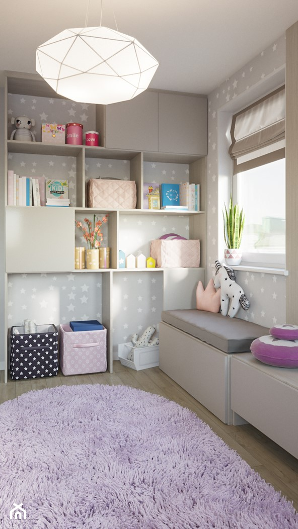 Skandynawskie mieszkanie w Krakowie - Mały szary pokój dziecka dla chłopca dla dziewczynki dla malucha, styl skandynawski - zdjęcie od Dom-Art - Homebook