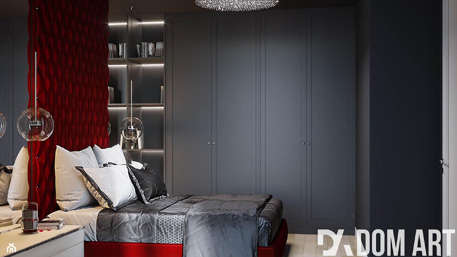 Eleganckie mieszkanie w Krakowie - Średnia szara sypialnia małżeńska - zdjęcie od Dom-Art - Homebook