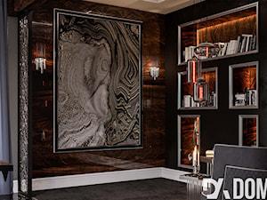 Apartament Art-Deco w Warszawie - Małe szare biuro domowe w pokoju, styl art deco - zdjęcie od Dom-Art