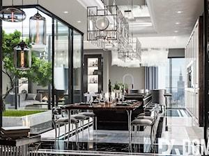 Apartament Art-Deco w Warszawie - Duża otwarta szara kuchnia jednorzędowa w aneksie z oknem, styl art deco - zdjęcie od Dom-Art