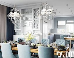 Mieszkanie w klasycznym stylu - Duża otwarta biała jadalnia w salonie - zdjęcie od Dom-Art