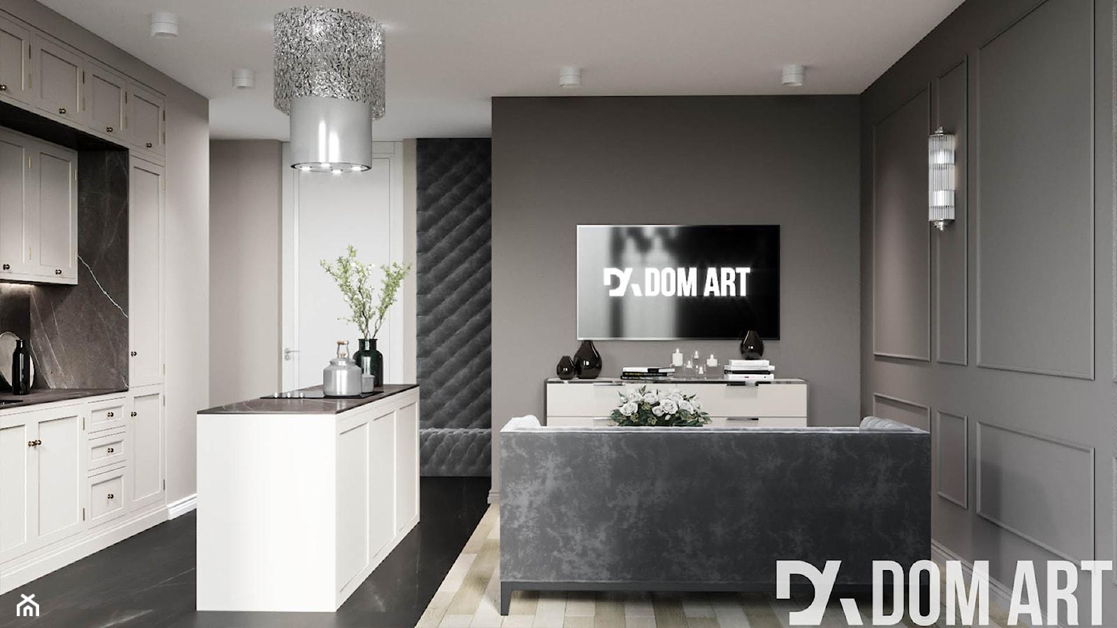 Eleganckie mieszkanie w Krakowie - Mały szary salon z kuchnią - zdjęcie od Dom-Art - Homebook