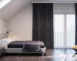 Skandynawski dom Libertowie - Duża biała sypialnia małżeńska na poddaszu z balkonem / tarasem, styl skandynawski - zdjęcie od Dom-Art