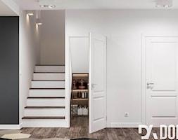 Skandynawski dom Libertowie - Mały szary biały salon, styl skandynawski - zdjęcie od Dom-Art