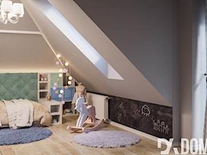Mieszkanie na poddaszu w Olkusz - Średni szary czarny pokój dziecka dla chłopca dla dziewczynki dla malucha, styl rustykalny - zdjęcie od Dom-Art