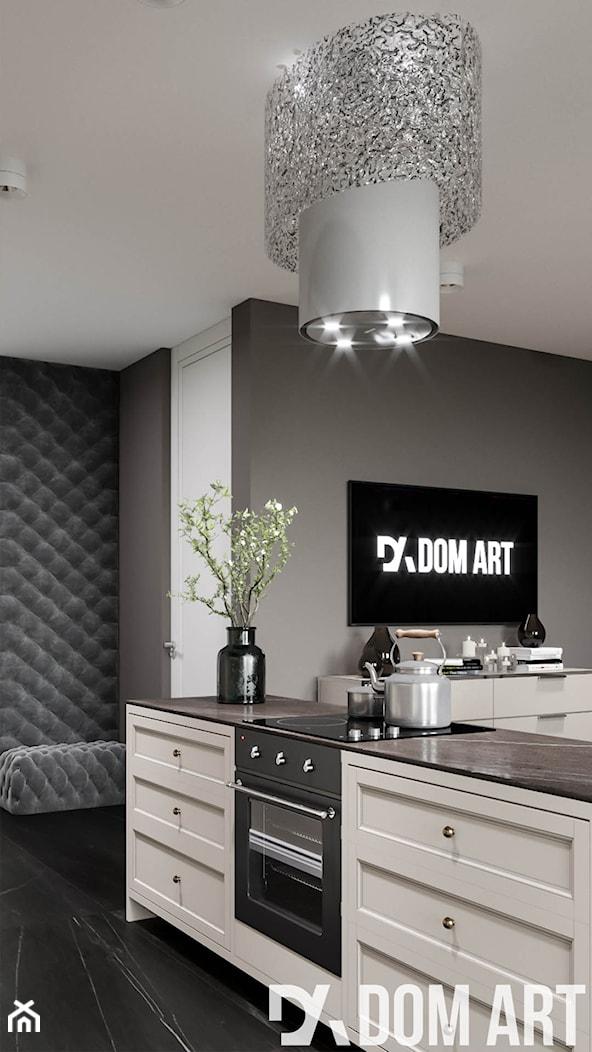 Eleganckie mieszkanie w Krakowie - Średnia otwarta szara kuchnia jednorzędowa w aneksie - zdjęcie od Dom-Art - Homebook