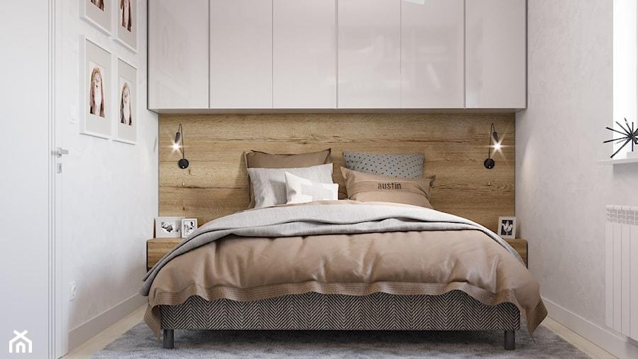 Skandynawskie mieszkanie w Krakowie - Mała biała sypialnia małżeńska, styl skandynawski - zdjęcie od Dom-Art